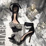 Shoes - Sparkling Crystal Bow High Heels Sandals