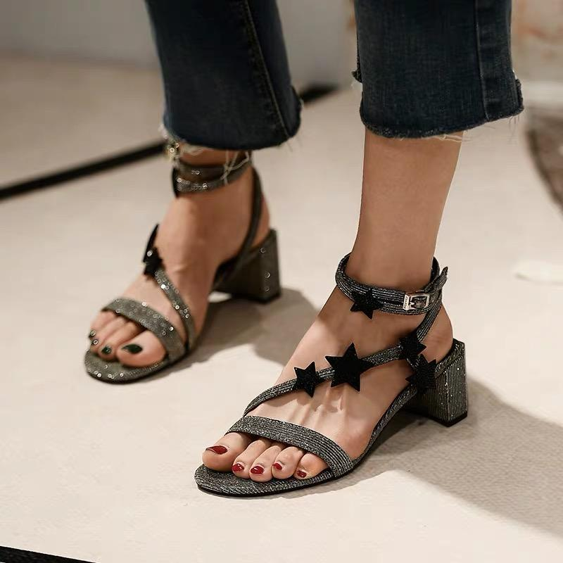 Shoes - Tied With Stars Crystal Sandals In Black