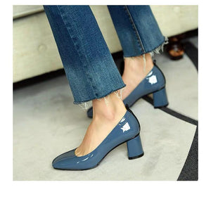 Shoes - US Superior Cowhide High Heels Shoes In Blue