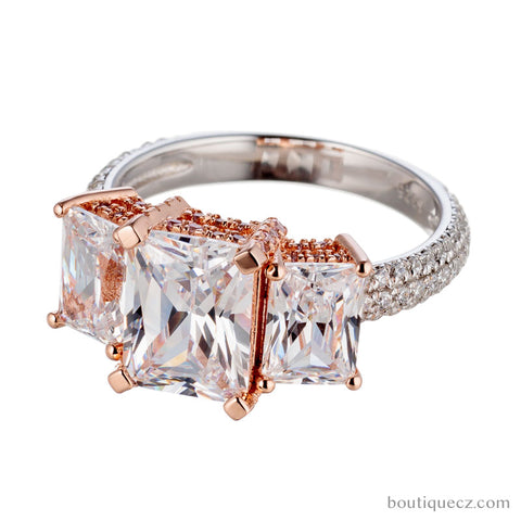 cubic zirconia | emerald cut 3 stone engagement ring | boutique CZ