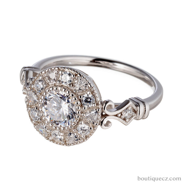 Vintage Inspired Round Halo White Gold Engagement Ring
