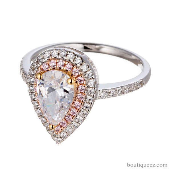 Pear Cut Cubic Zirconia Double Halo Rose and White Gold Engagement Ring