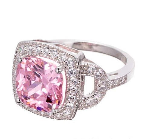cushion cut pink CZ | engagement ring image | Boutique CZ