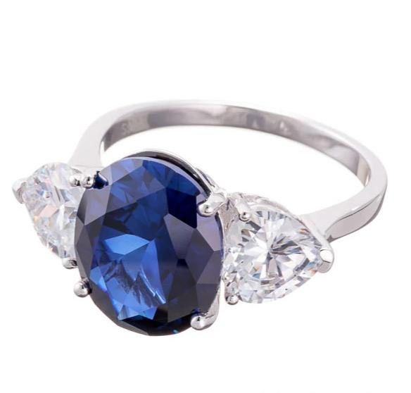 cubic zirconia | oval cut faux sapphire engagement ring image | Boutique CZ