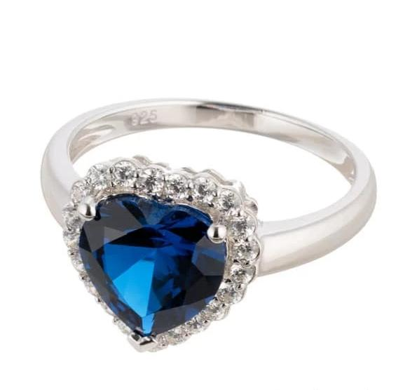 HEART CUT FAUX BLUE SAPPHIRE HALO ENGAGEMENT RING