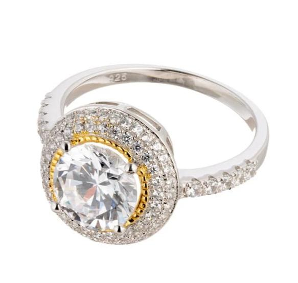 cubic zirconia | round cut two tone gold ring image | Boutique CZ