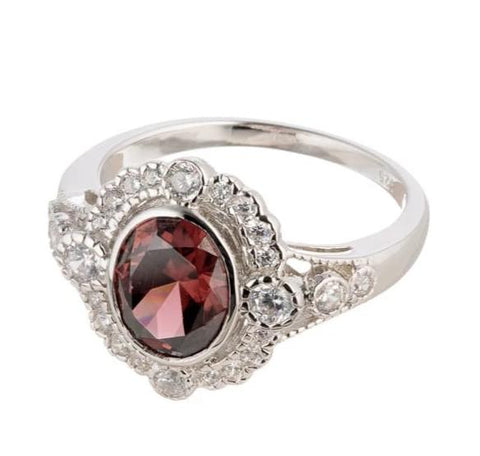 cubic zirconia | faux garnet antique ring images | Boutique CZ