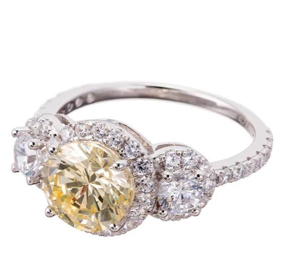 FAUX CANARY DIAMOND CUBIC ZIRCONIA THREE STONE HALO ENGAGEMENT RING