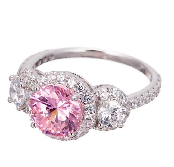 rings | three stone faux pink diamond engagement ring image | Boutique CZ