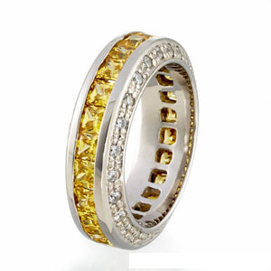 CANARY CUBIC ZIRCONIA | PRINCESS CUT | ETERNITY BAND