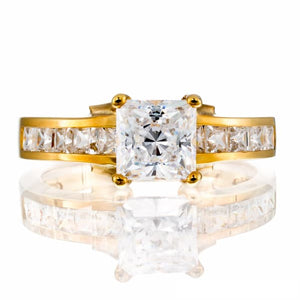 CUBIC ZIRCONIA | PRINCESS CUT CHANNEL SET | ENGAGEMENT RING