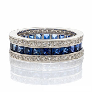 SAPPHIRE CUBIC ZIRCONIA | ROUND PRINCESS CUT FAUX | ETERNITY BAND