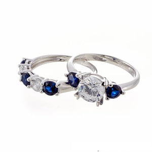 SAPPHIRE CZ | WHITE GOLD THREE STONE | BRIDAL SET