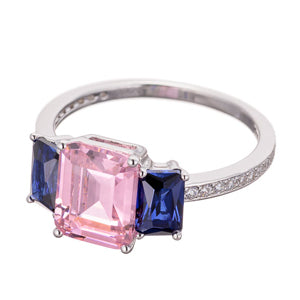 BLUE SAPPHIRE CZ | EMERALD CUT| FAUX PINK DIAMOND | ENGAGEMENT RING