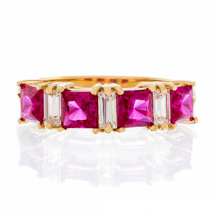 RUBY CUBIC ZIRCONIA | PRINCESS CUT FAUX | ANNIVERSARY BAND