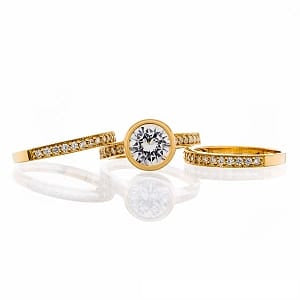 CUBIC ZIRCONIA | ROUND TRIPLE BAND | BRIDAL SET