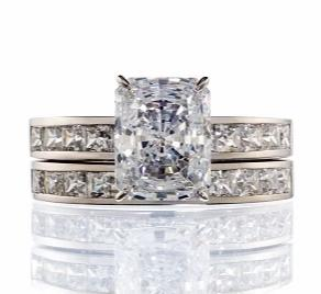 CUBIC ZIRCONIA | WHITE GOLD RADIANT AND PRINCESS CUT | BRIDAL SET