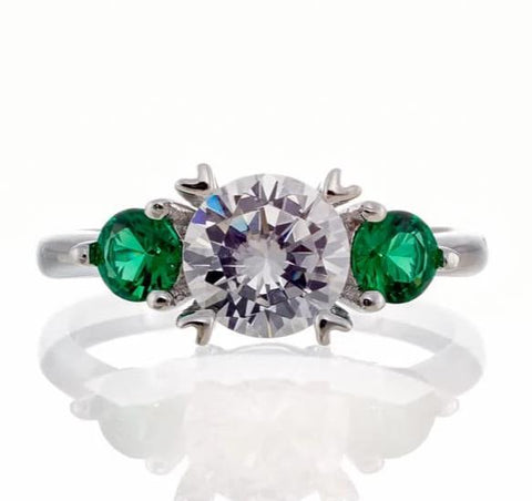 cubic zirconia | three stone emerald accent ring image | Boutique CZ
