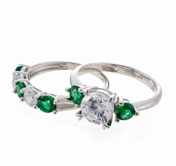 FAUX EMERALD CUBIC ZIRCONIA THREE STONE BRIDAL SET