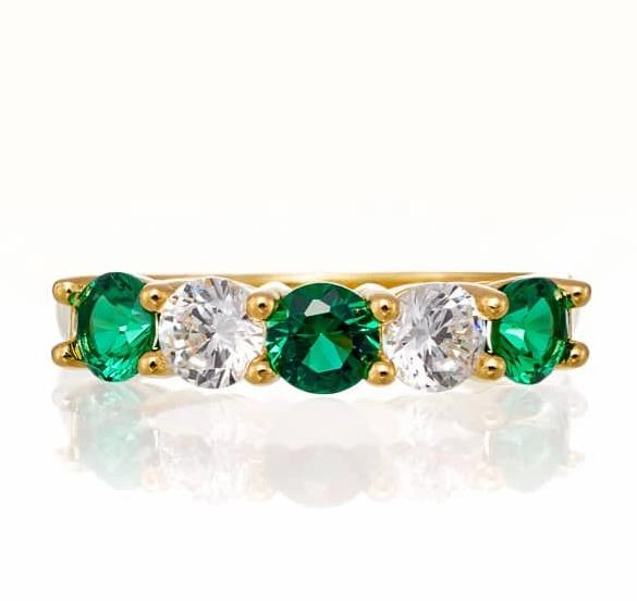 cubic zirconia | five stone emerald anniversary band images | Boutique CZ