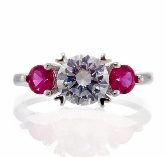 cubic zirconia | three stone ruby accent ring image | Boutique CZ