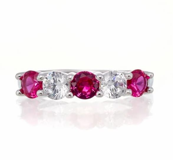 cubic zirconia | five stone ruby anniversary band | Boutique CZ