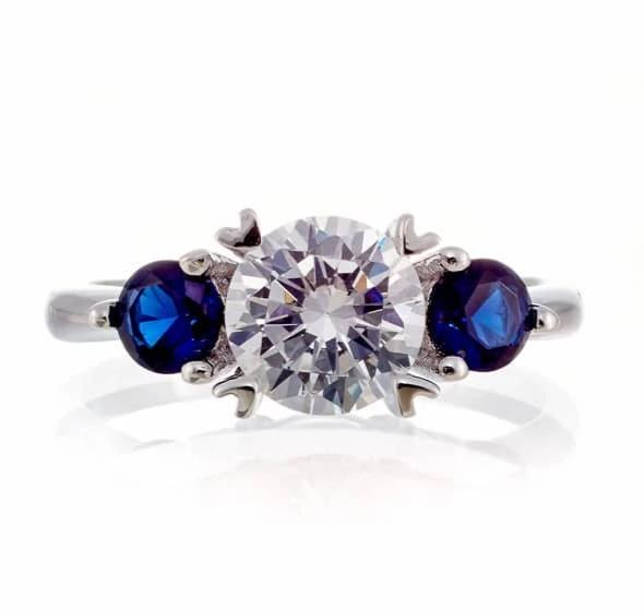 cubic zirconia | three stone gemstone sapphire ring | Boutique CZ