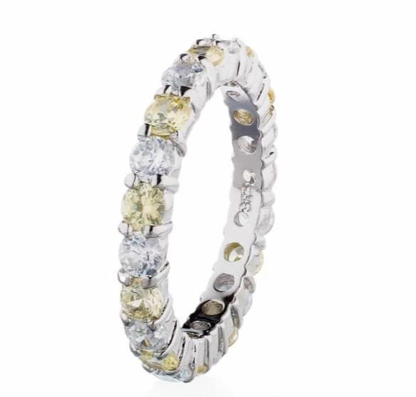 cubic zirconia | faux canary diamond eternity ring image | Boutique CZ