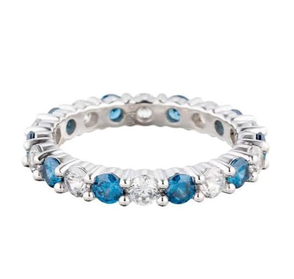 cubic zirconia | faux ceylon sapphire eternity ring images | Boutique CZ