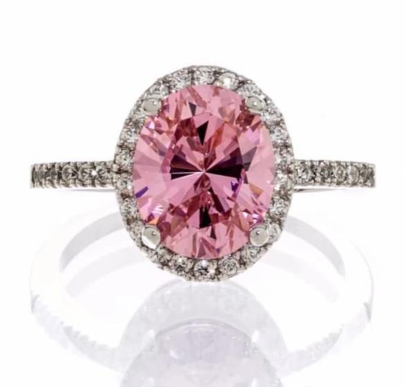 cubic zirconia | pink CZ halo engagement ring images | Boutique CZ