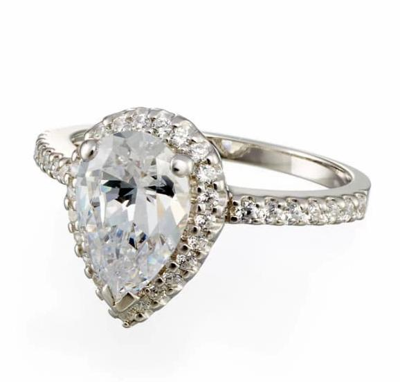 cubic zirconia | pear cut halo engagement ring image | Boutique CZ
