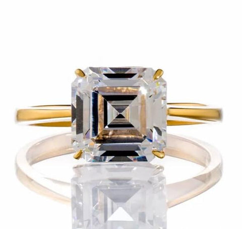ASSCHER CUT SOLITAIRE CUBIC ZIRCONIA ENGAGEMENT RING