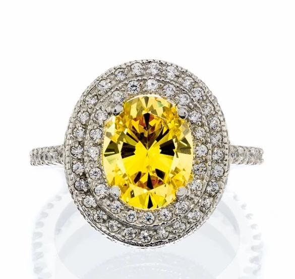cubic zirconia | fancy halo canary engagement ring image | Boutique CZ