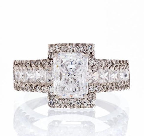 cubic zirconia | radiant cut engagement ring setting image | Boutique CZ