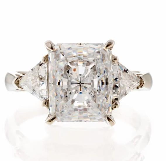 cubic zirconia | radiant cut triangle CZ engagement ring image | Boutique CZ