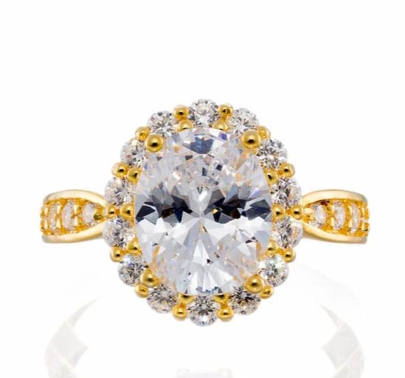 cubic zirconia | oval cut halo engagement ring images | Boutique CZ