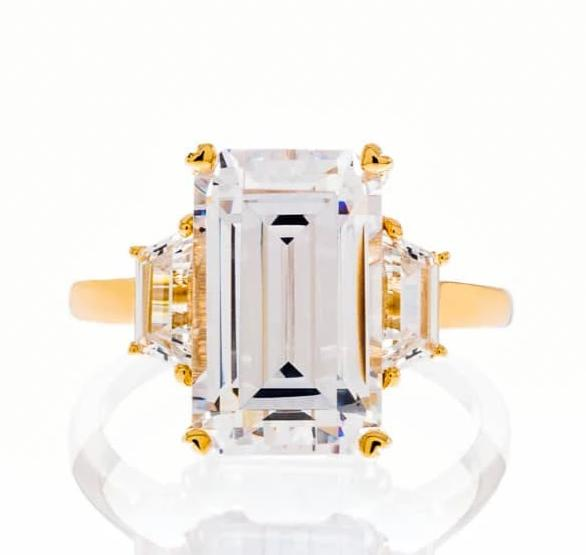 cubic zirconia | fancy emerald cut engagement ring images | Boutique CZ