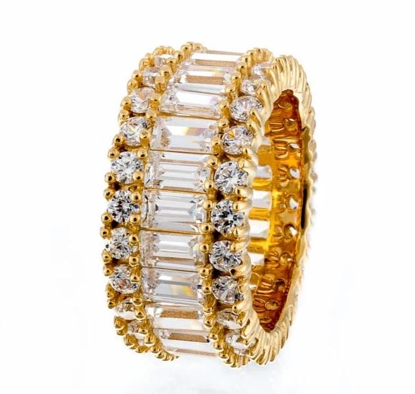 cubic zirconia | baguette round triple eternity band images | Boutique CZ