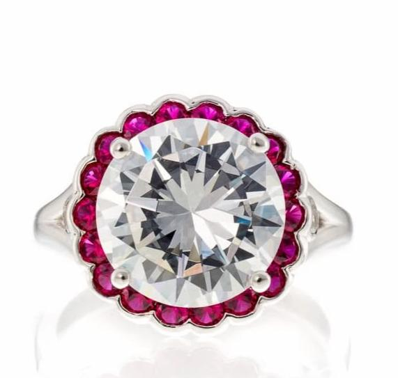 ROUND CUT CUBIC ZIRCONIA AND RUBY CZ HALO ENGAGEMENT RING