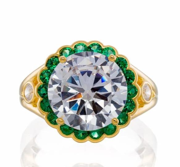 Cubic Zirconia | Emerald CZ Halo Engagement Ring Images | Boutique CZ