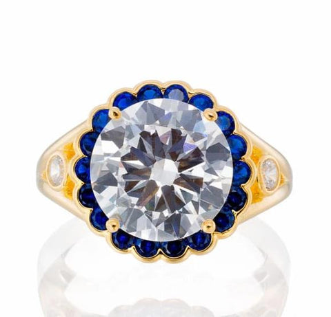 Cubic Zirconia | Sapphire CZ Halo Engagement Ring Image | Boutique CZ