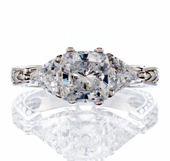 cubic zirconia | cushion & trillion cut engagement ring images | Boutique CZ