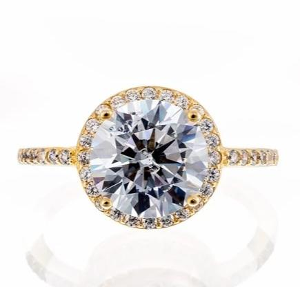 cubic zirconia | simple halo engagement ring images | Boutique CZ