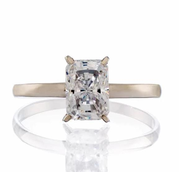 RADIANT CUT CUBIC ZIRCONIA SOLITAIRE ENGAGEMENT RING