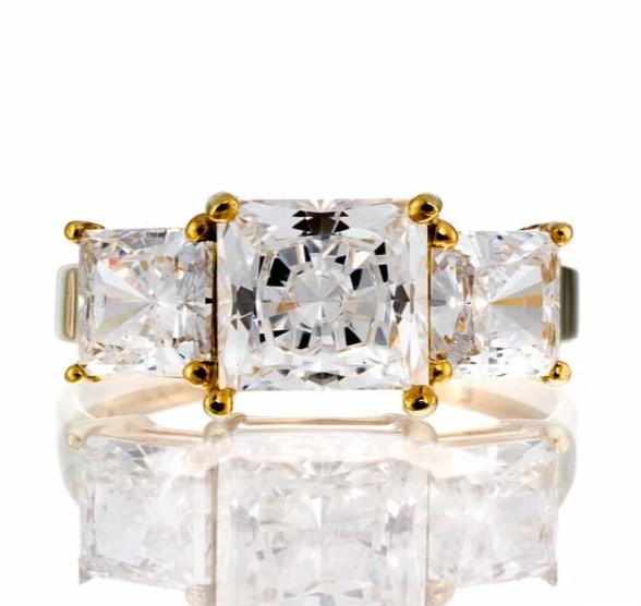 cubic zirconia | 5 carat princess cut three stone images | Boutique CZ