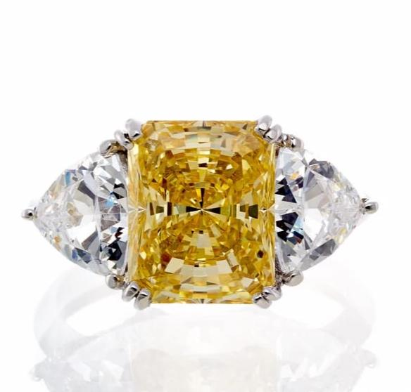 cubic zirconia | radiant cut canary engagement ring  images | Boutique CZ
