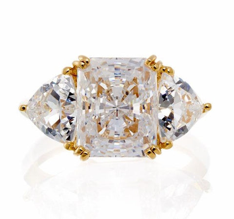 cubic zirconia | radiant and trillion cut engagement ring image | Boutique CZ