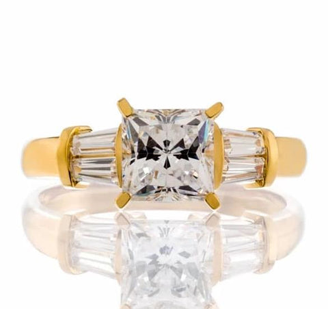 cubic zirconia | princess baguette engagement ring images | Boutique CZ