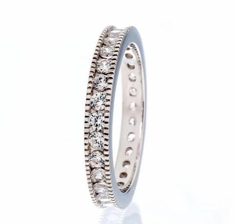 ANTIQUE INSPIRED CUBIC ZIRCONIA ETERNITY BAND