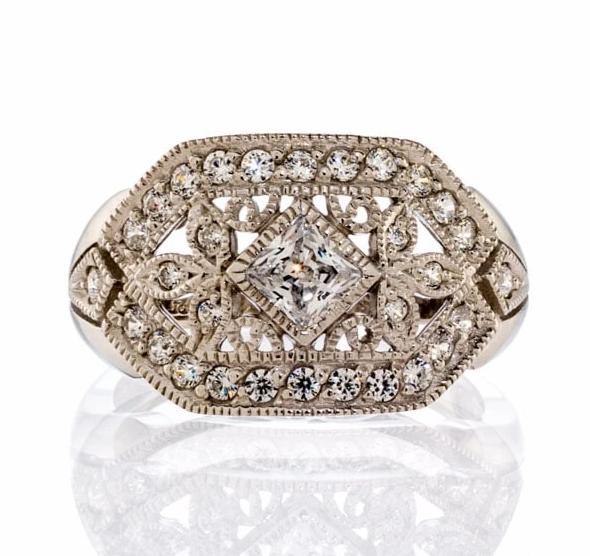 cubic zirconia | antique inspired engagement ring images | Boutique CZ